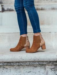 Chelsea boots à talon - Biche cognac