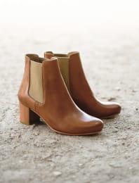 Chelsea boots à talon - Cognac et Doré