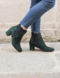 Chelsea boots à talon - Vert sapin