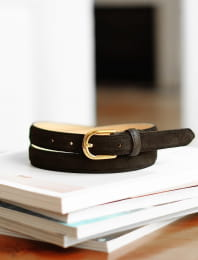 Classic belt woman - Black suede