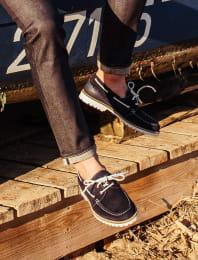 Midnight blue bateau shoe