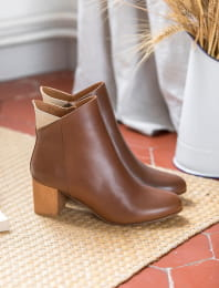 Triangle heel - Cognac and gold