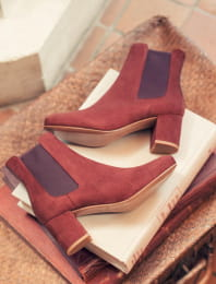 Chelsea heel - Rust and eggplant