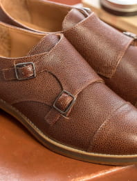 Derbies with buckle - Grained chocolate