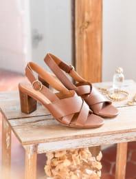 Giulia heeled sandals - Cognac