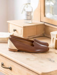 Slippers - Cognac and gold