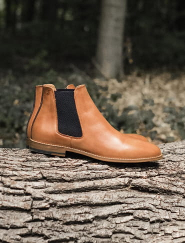 Chelsea Boots - Cognac and Blue