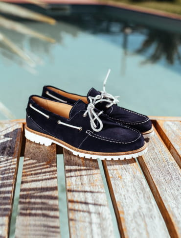 Midnight blue bateau shoe