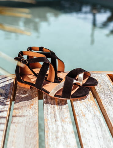 Maradji sandals - Black and gold