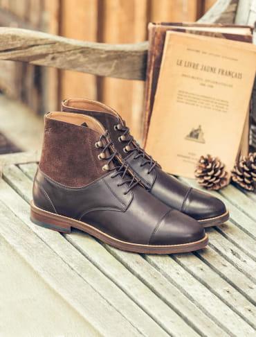 Combat boots derby - Chocolat