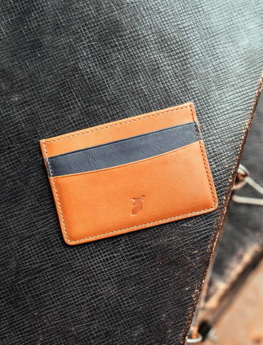 Card holder - Cognac and Midnight blue