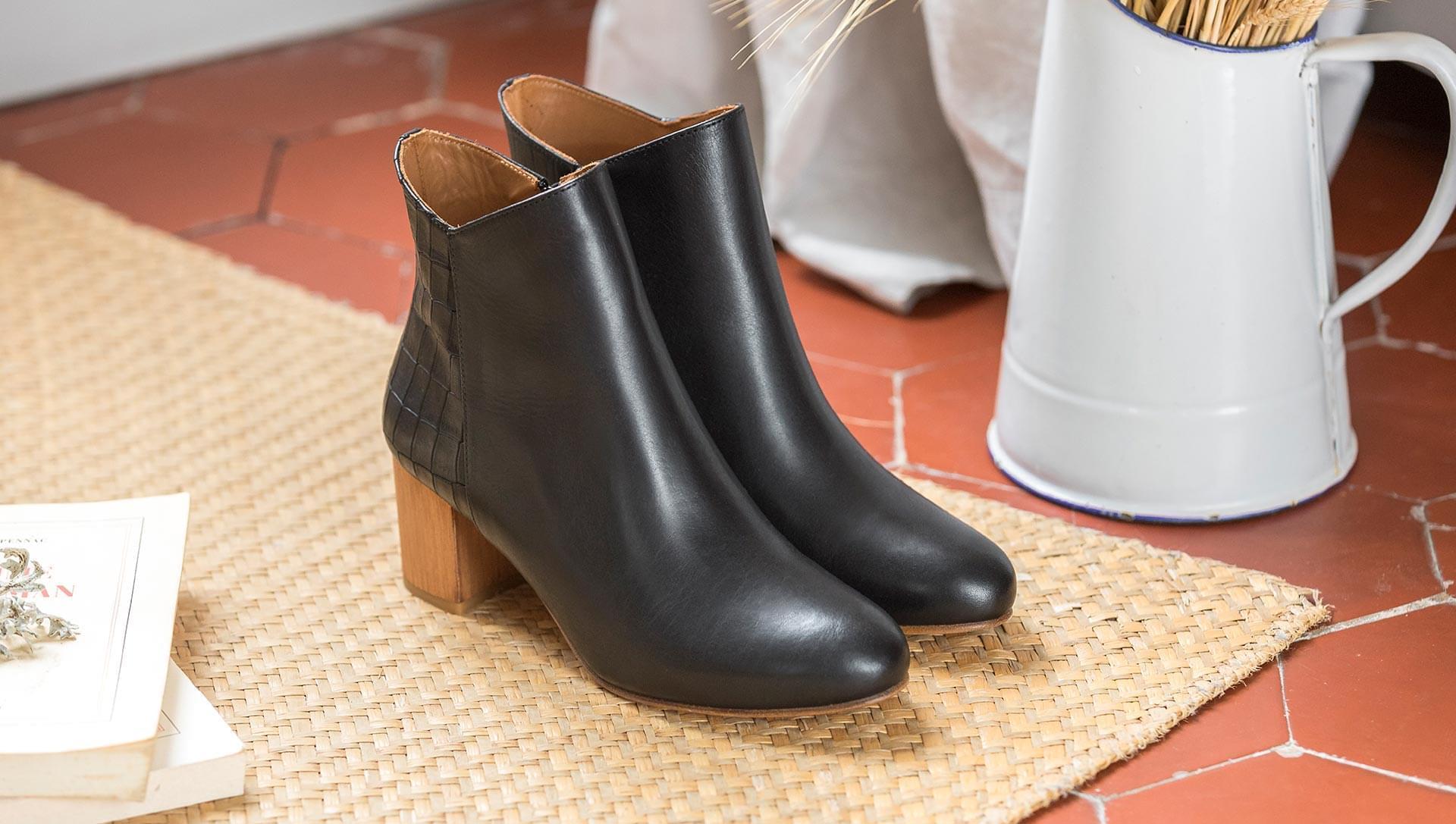 Triangle heel - Black and croco