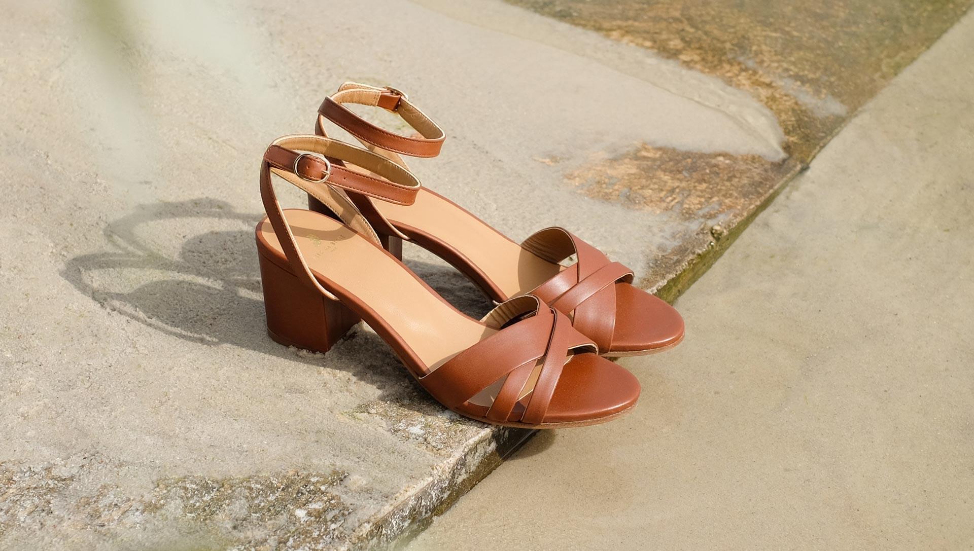Leonore heeled sandals - Cognac