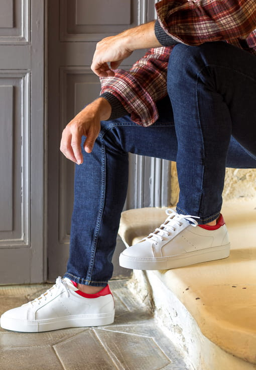 Sneakers Elio - White and cherry