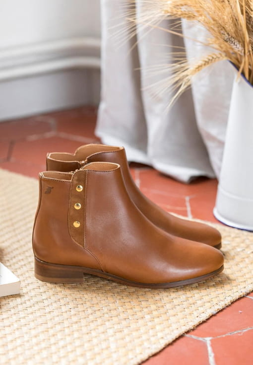 Bottines plates Romy - Cognac