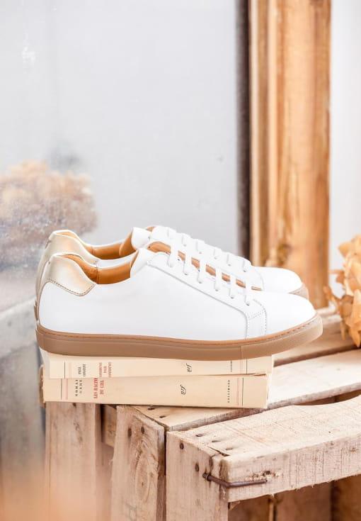Sneakers Olivia - Blanc et doré