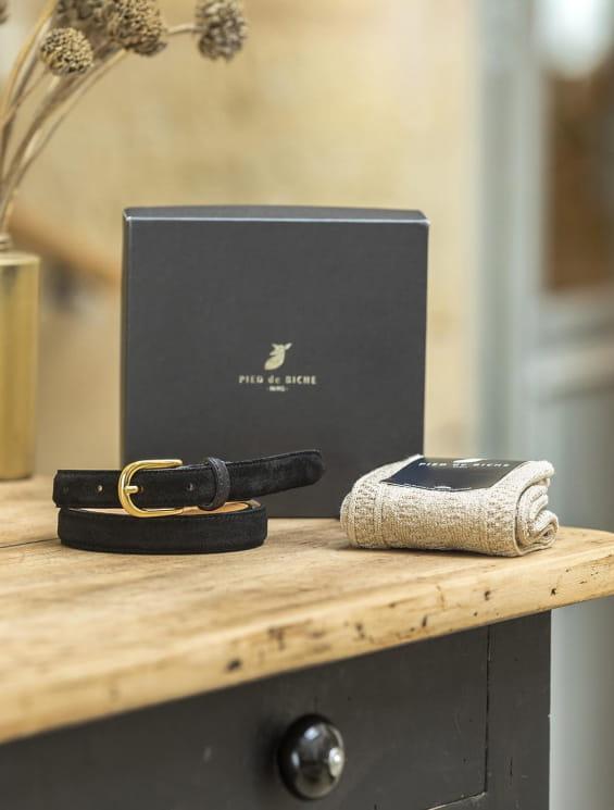 Coffret - Ceinture noire et chaussette jacquard doré