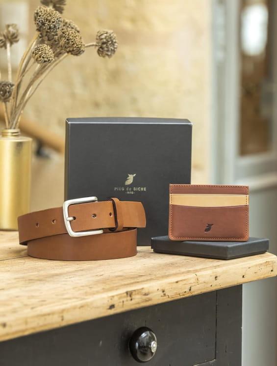 Coffret - Porte-cartes grain de café et ceinture brute cognac