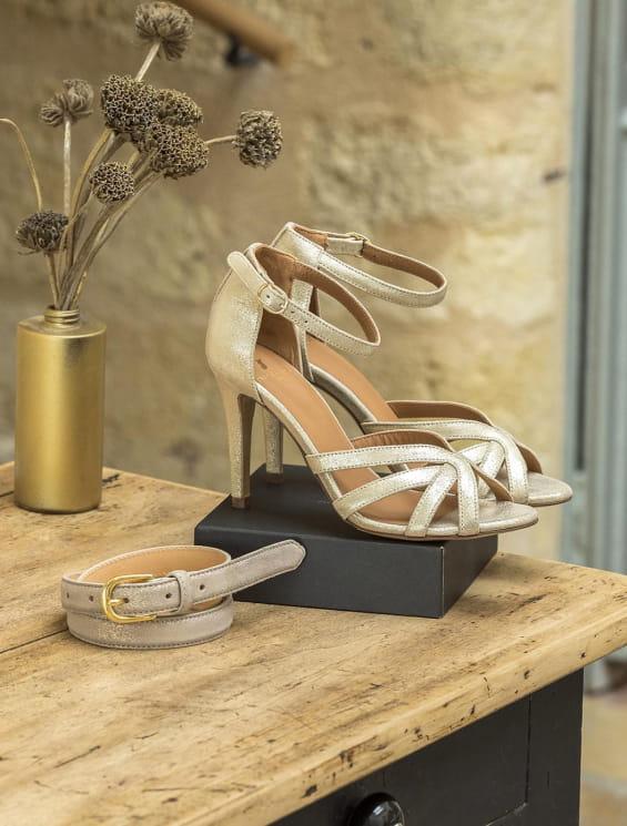 Coffret - Sandale Hortense et ceinture taupe pailletée
