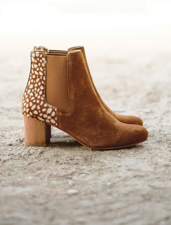 Chelsea boots à talon Biche cognac