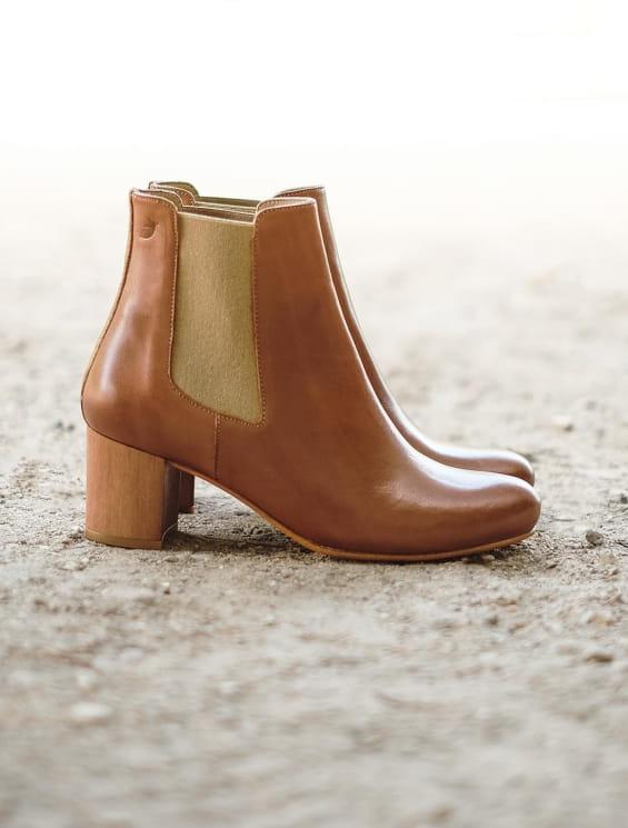 Chelsea boots à talon Cognac et doré