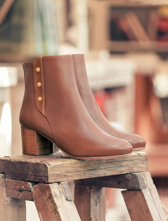 Bottines à talon Romy - Cognac