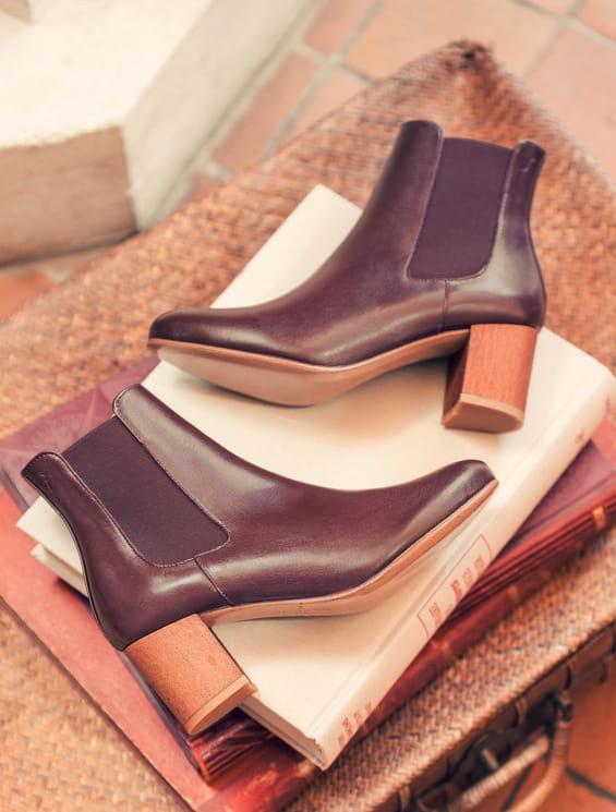 Chelsea boots à talon - Bordeaux