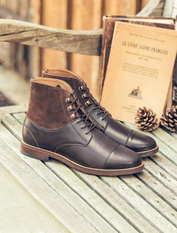 Combat boots derby - Chocolat