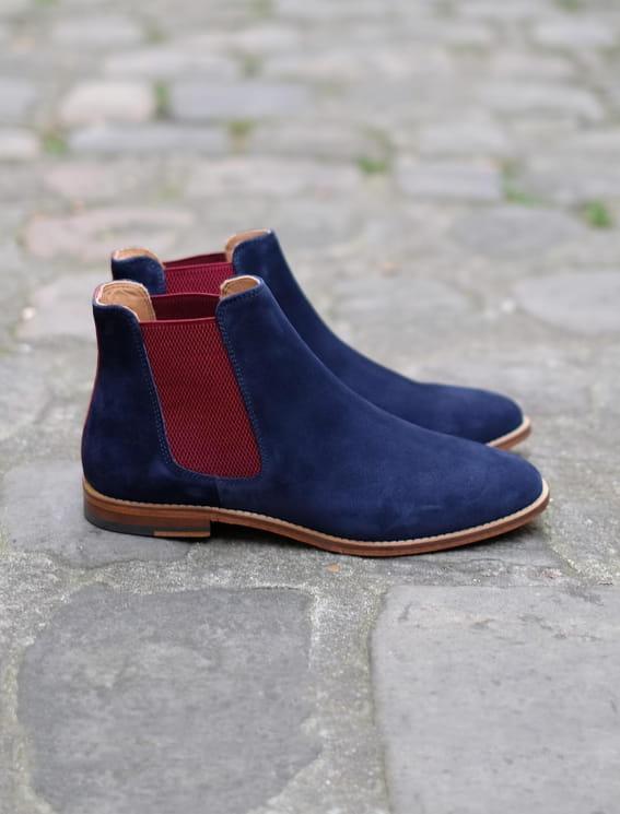 Chelsea boots Bleu nuit et bourgogne