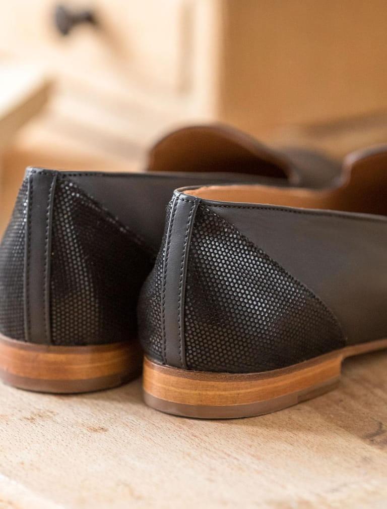 Slippers - Noir et python
