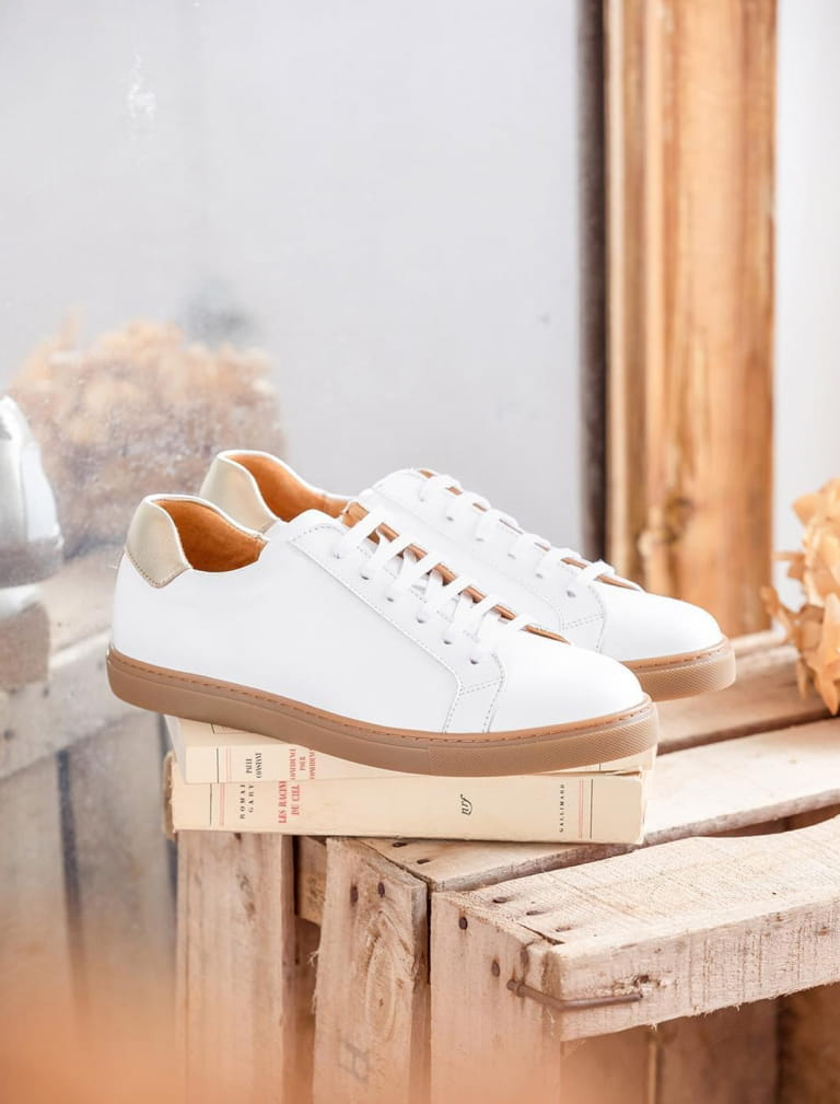 Sneakers Olivia - White and gold