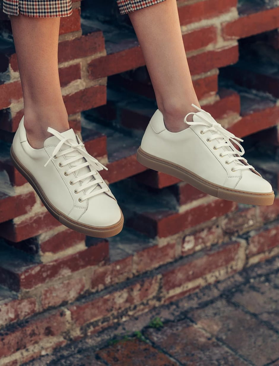Sneakers - White and honey