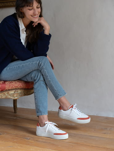Suzanne Sneakers - White and Tile