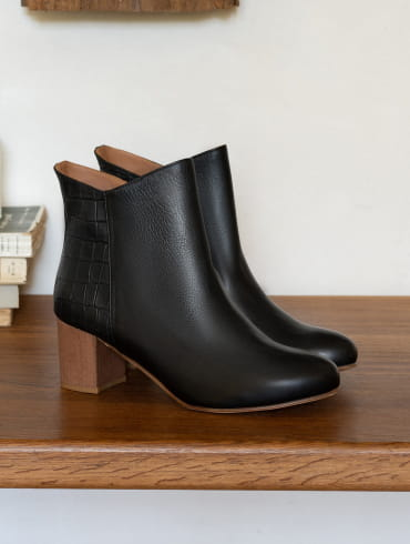 Elise Ankle heeled Boots - Black and Croco
