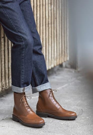 Wingtip boots - Havane