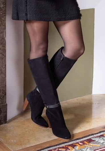 Ysée Heeled Boots - Black