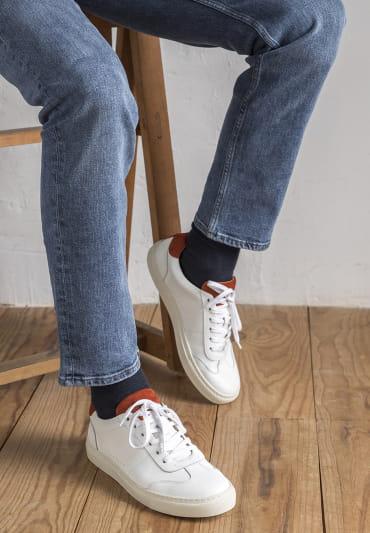 Sneakers Rick - White and terracota
