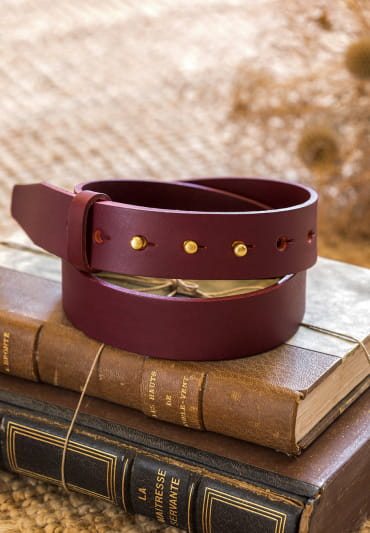 Collar button Belt - Burgundy