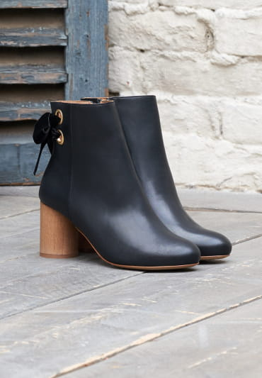 Emma Heeled Ankle Boots - Black