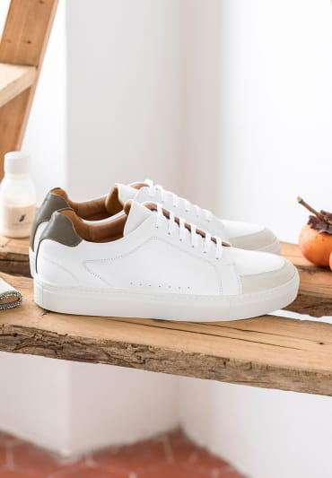 Sneakers Gino - Blanc et kaki