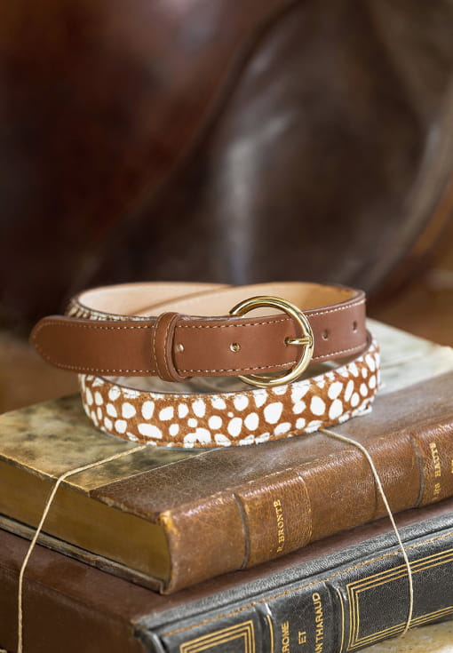 Bi-material belt woman - Cognac and biche