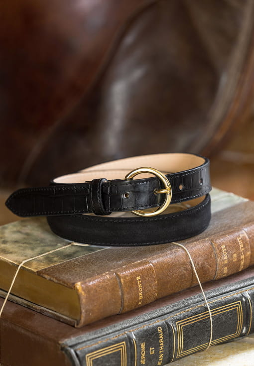Bi-material belt woman - Black & croco