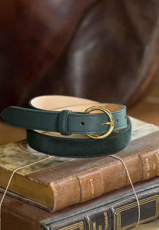 Bi-material belt woman - Velvet green
