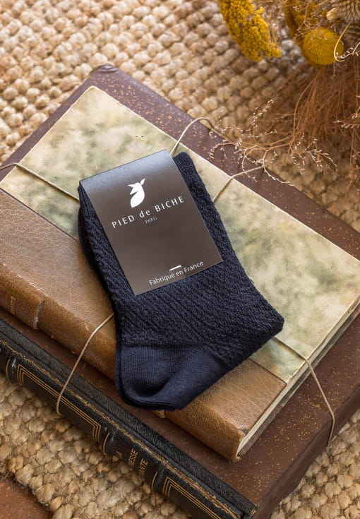 Embossed socks - Night blue