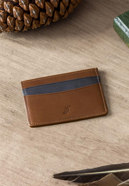 Card holder - Coffee bean and Midnight blue