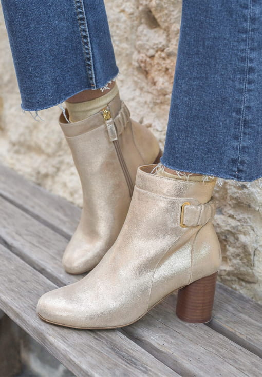 Astrid Ankle heeled Boots - Gold