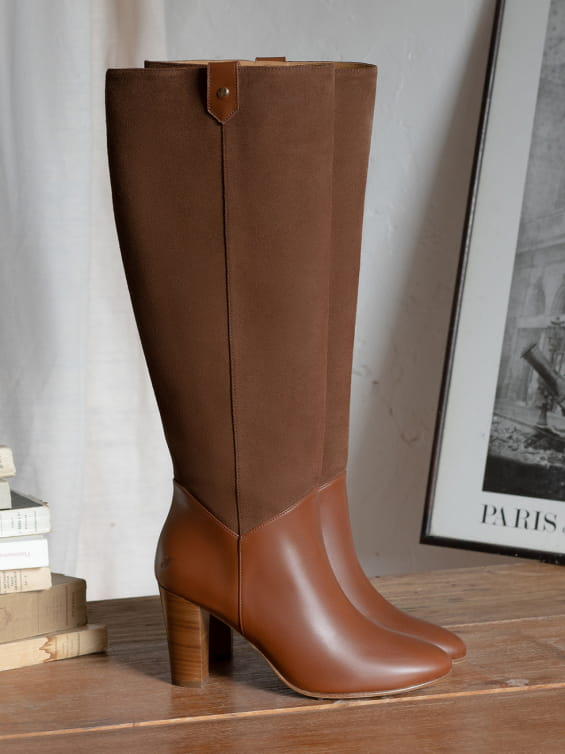 Tirangle Sally heel boots - Cognac Boots - Cognac