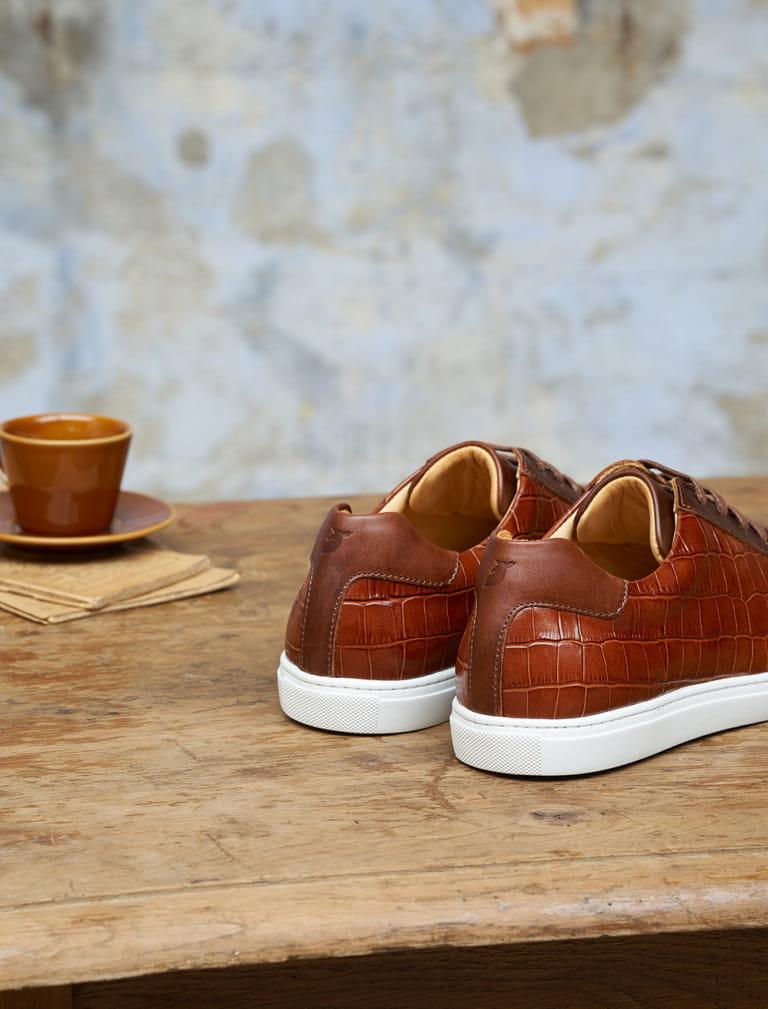 Sneakers Olivia - Croco cognac