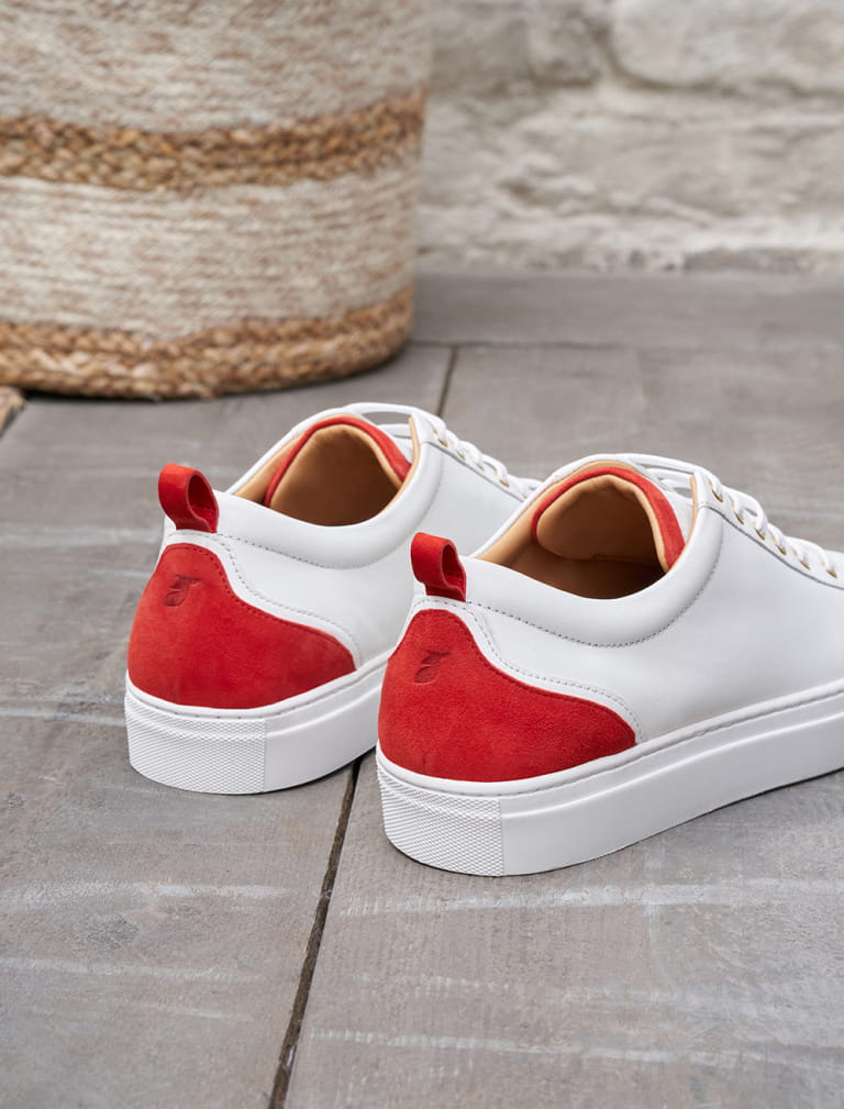 Sneakers Lola - White and Carmine