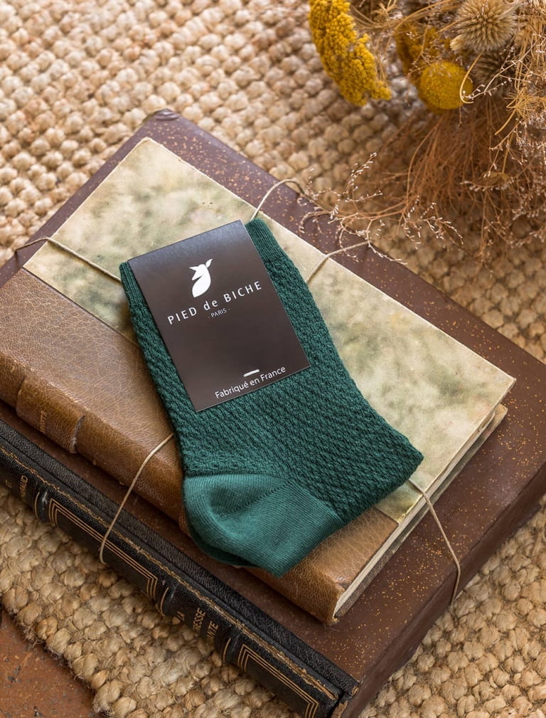 Embossed socks - Fir green